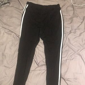 Black with white varsity stripe leggings